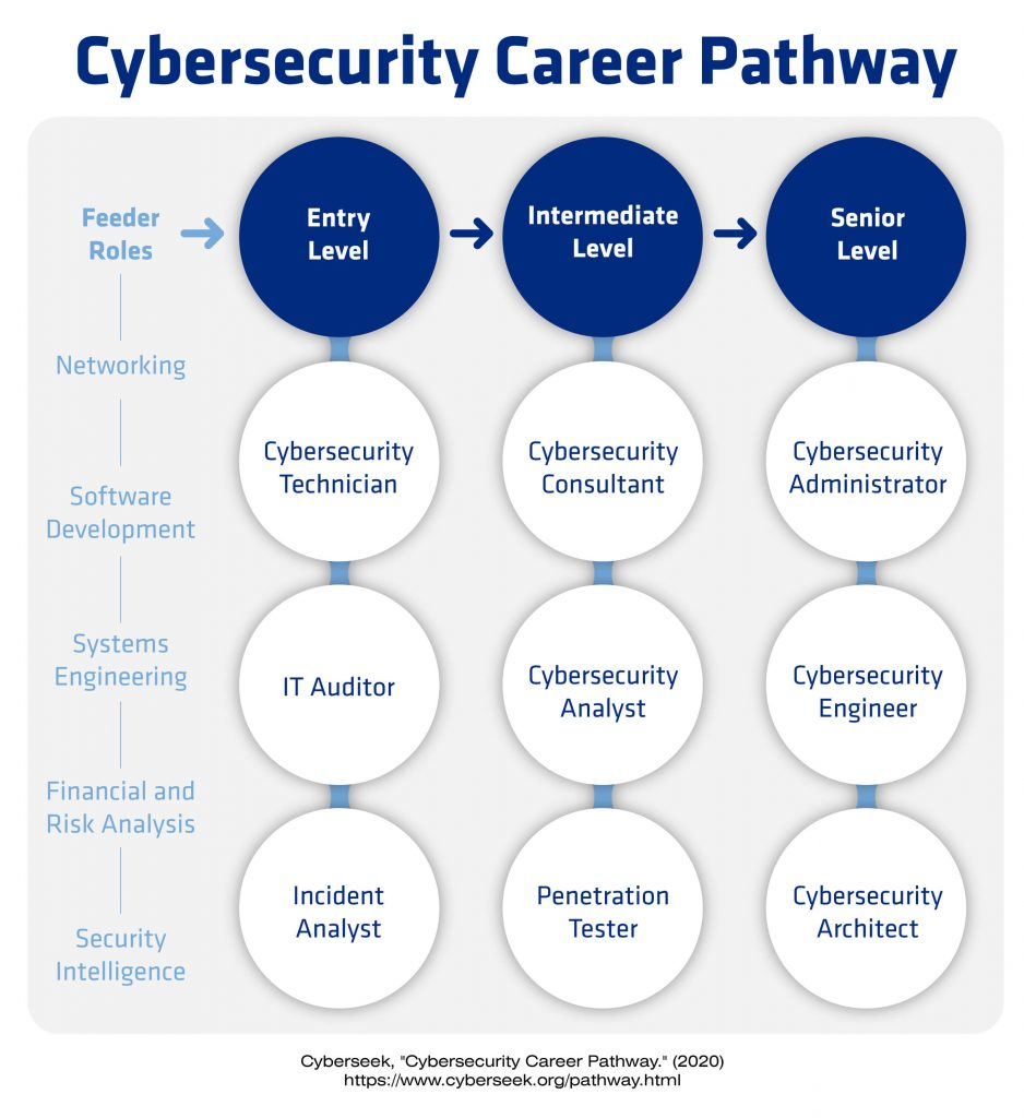 A chart showing a cybersecurity career path including entry, intermediate, and senior positions