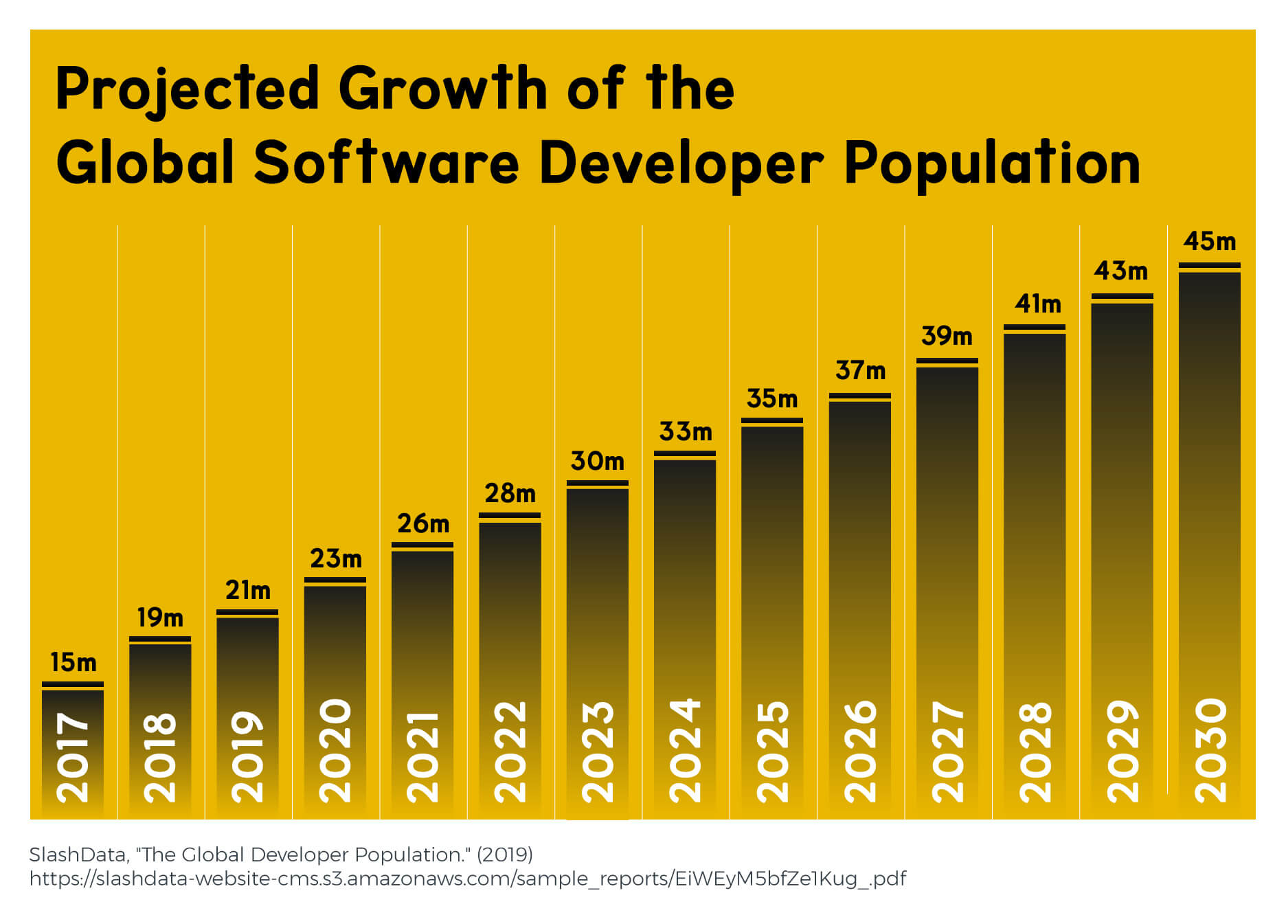 A chart showing the projected growth of the software developer population