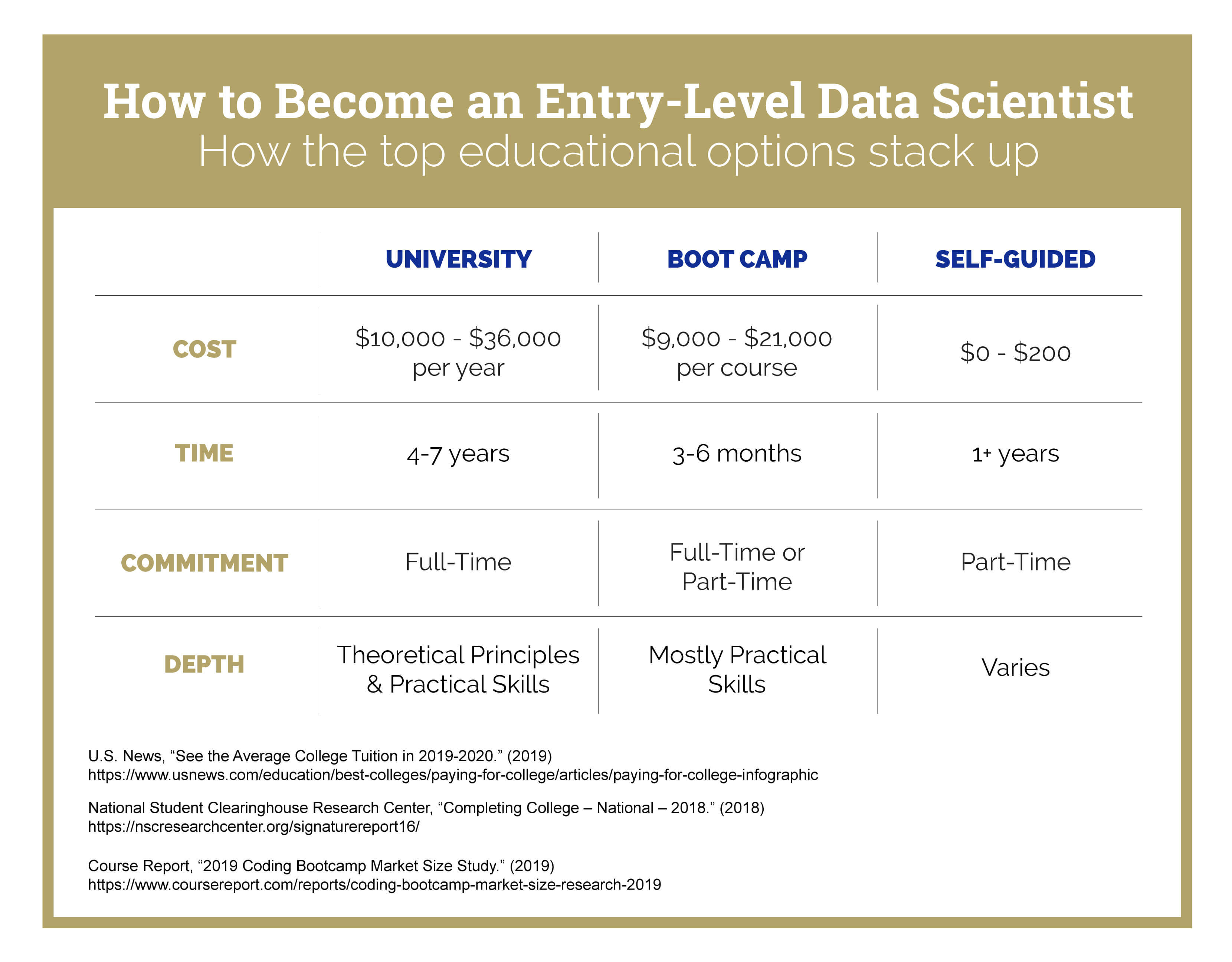 A chart that shows how to become an entry-level data scientist by comparing the top educational options.